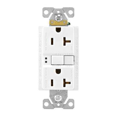 GFCI Self-Test 20A -125V Duplex Receptacle with Standard Size Wallplate, White