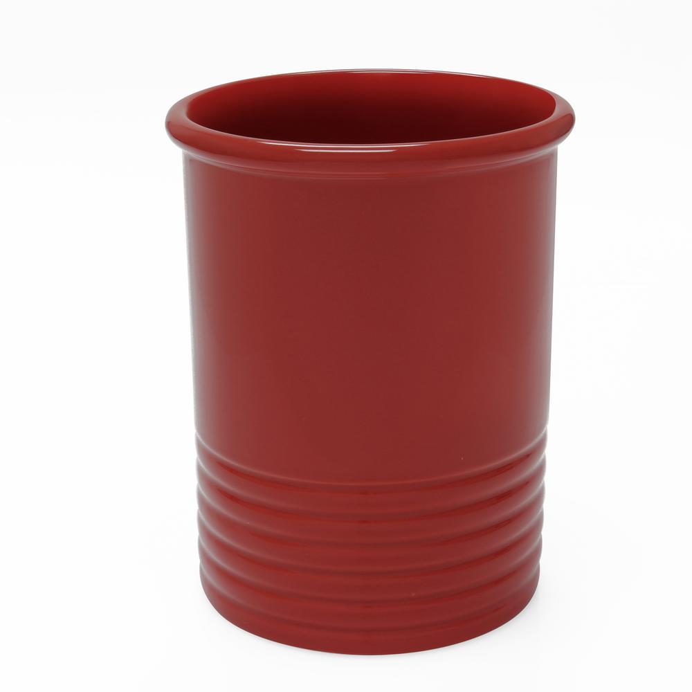 Medium Cinnabar Ceramic Utensil Crock