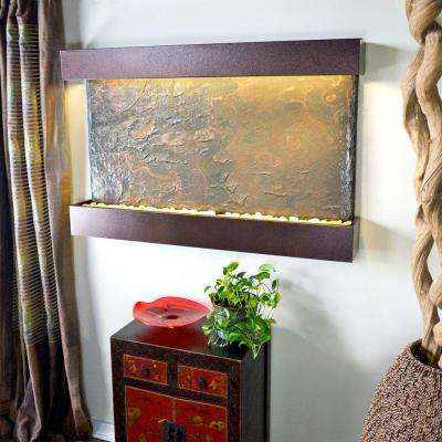 Large Horizon Falls Lightweight Slate Wall Fountain in Copper-Vein Trim
