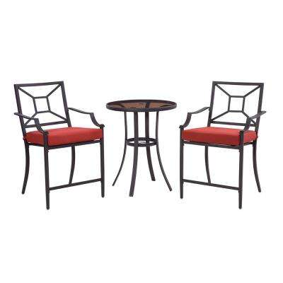 Laredo 3-Piece Metal Outdoor Balcony Height Bistro Set with Red Cushions