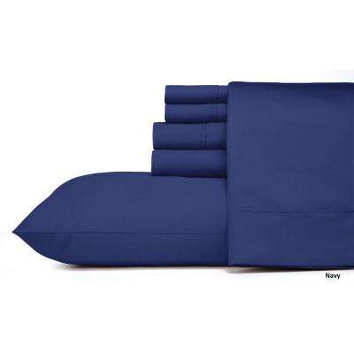 MHF Home 6-Piece Navy Solid Cotton Rich Queen Sheet Set