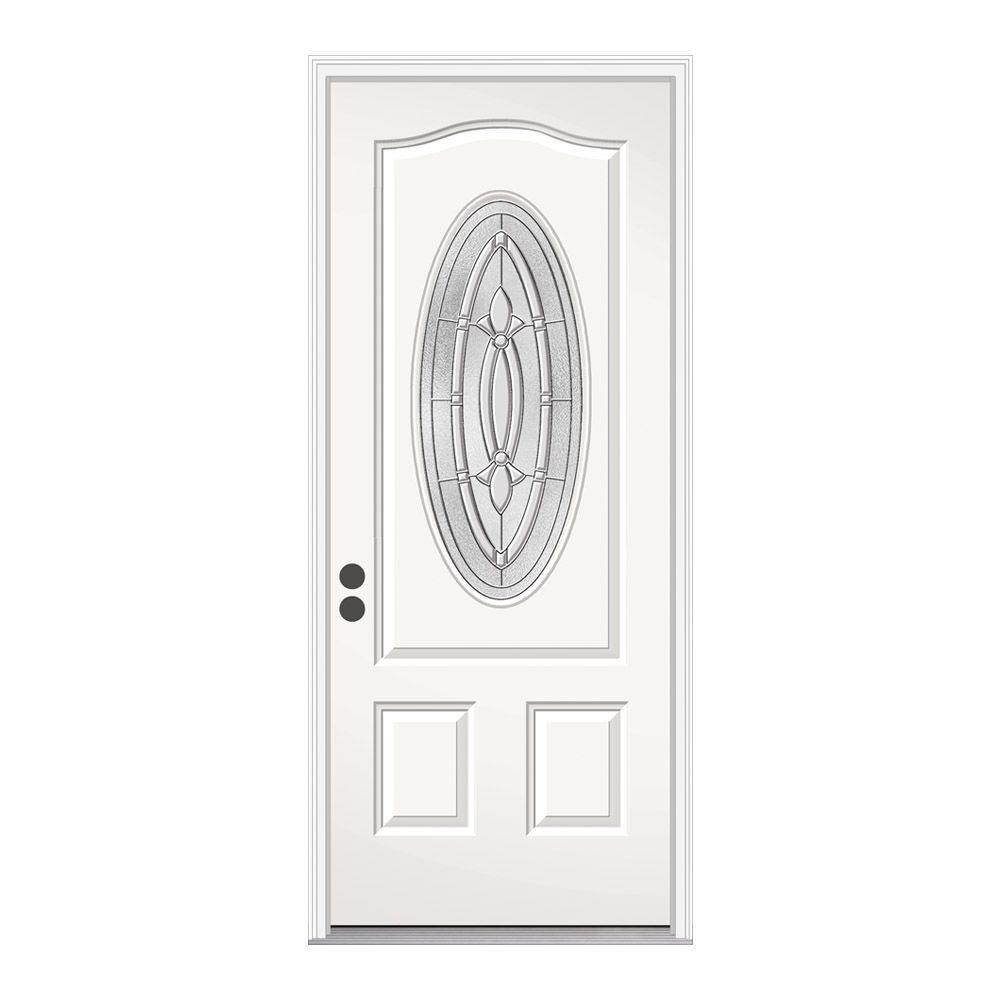 JELD-WEN 36 in. x 80 in. 3/4 Oval Lite Blakely Primed Steel Prehung Right-Hand Inswing Front Door
