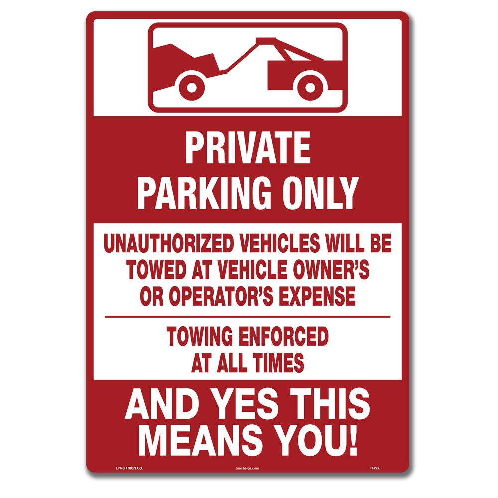 10 in. x 14 in. Tenant Parking Only Sign Printed on