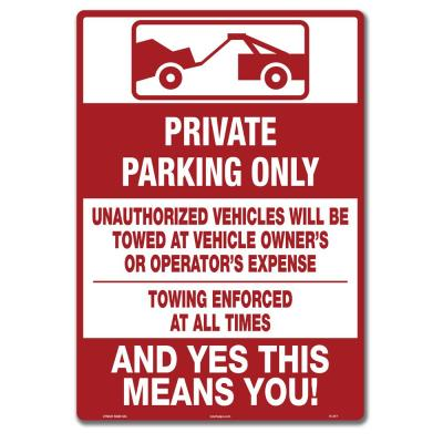 10 in. x 14 in. Private Parking Only Sign Printed on More Durable Thicker Longer Lasting Plastic Styrene