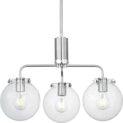 Progress Lighting Berea 3-Light Brushed Nickel Chandelier with Clear Seeded Glass Shades
