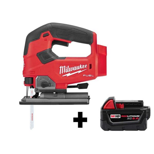 Milwaukee M18 FUEL 18-Volt Lithium-Ion Brushless Cordless Jig Saw with Free M18 5.0 Ah Battery