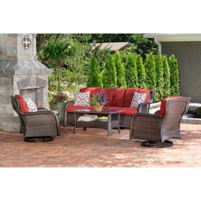 Hanover Strathmere 4-Piece Steel Patio Conversation Set with Crimson Red Cushions