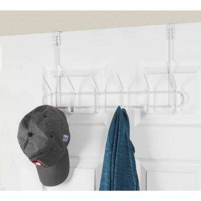 20 in. Large Decorative Steel 6-Hook Rack in White