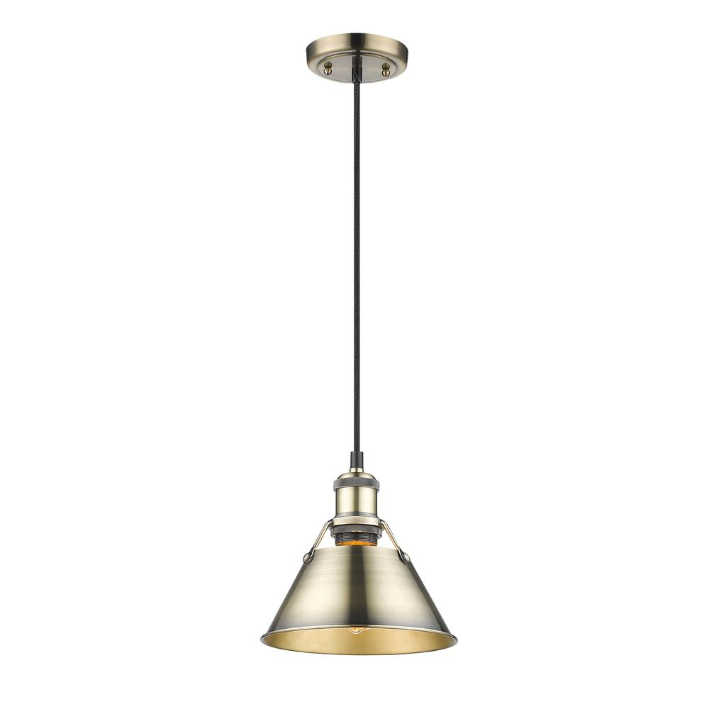 Orwell AB 1-Light Aged Brass Pendant with Aged Brass Shade