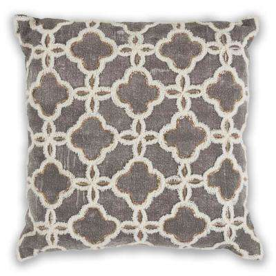 Grey Arabesque 18 in. x 18 in. Decorative Pillow