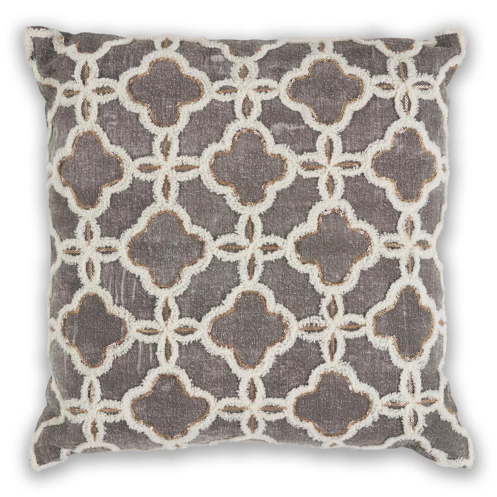 Grey Arabesque 18 in. x 18 in. Decorative Pillow