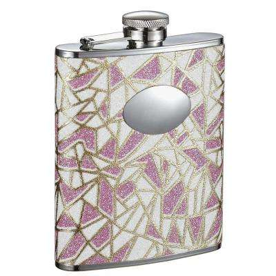 Decadence Pink and White Glitter Liquor Flask