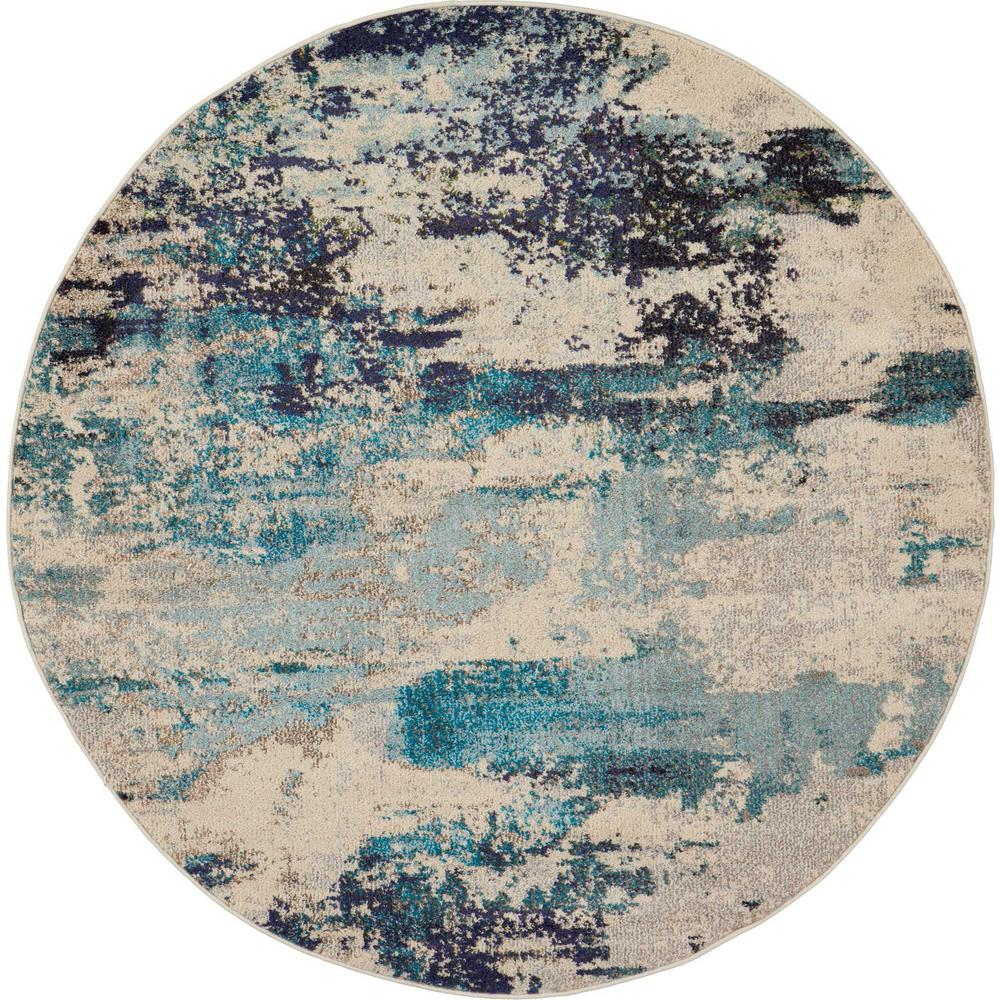 Nourison Celestial 5 Ft Round Blue And
