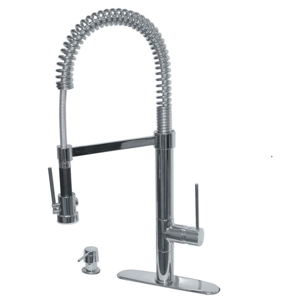Pegasus Marilyn Commercial Single Handle Pull Down Kitchen Faucet With Soap Dispenser In Brushed