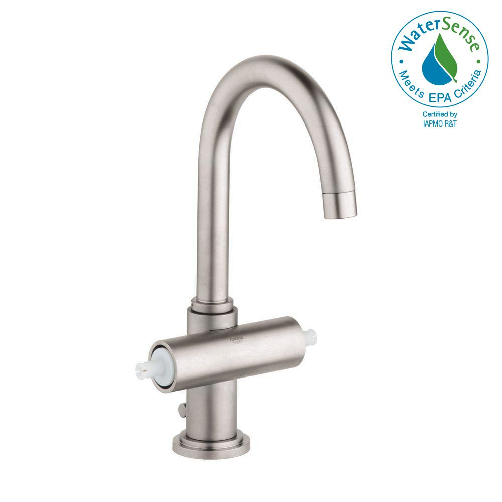 GROHE Atrio Single Hole 2-Handle Bathroom Faucet in Brushed Nickel ...