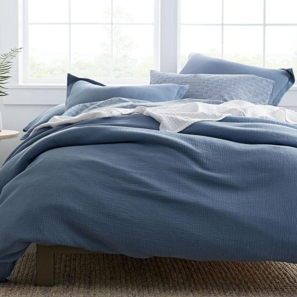 The Company Store Pryor Organic Cotton Shadow Blue Solid Twin Duvet