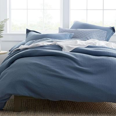Pryor Shadow Blue Solid Organic Cotton Full Duvet Cover