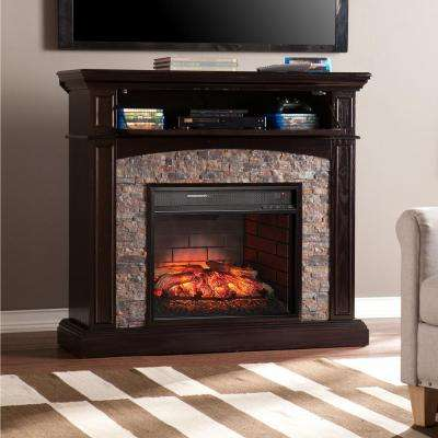 Newburgh 45.5 in. W Faux Stone Corner Infrared Electric Media Fireplace in Ebony