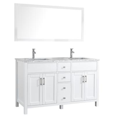 Amaya 60 in. Double Vanity in White with Marble Vanity Top in Carrara White with White Ceramic Basins and Mirror