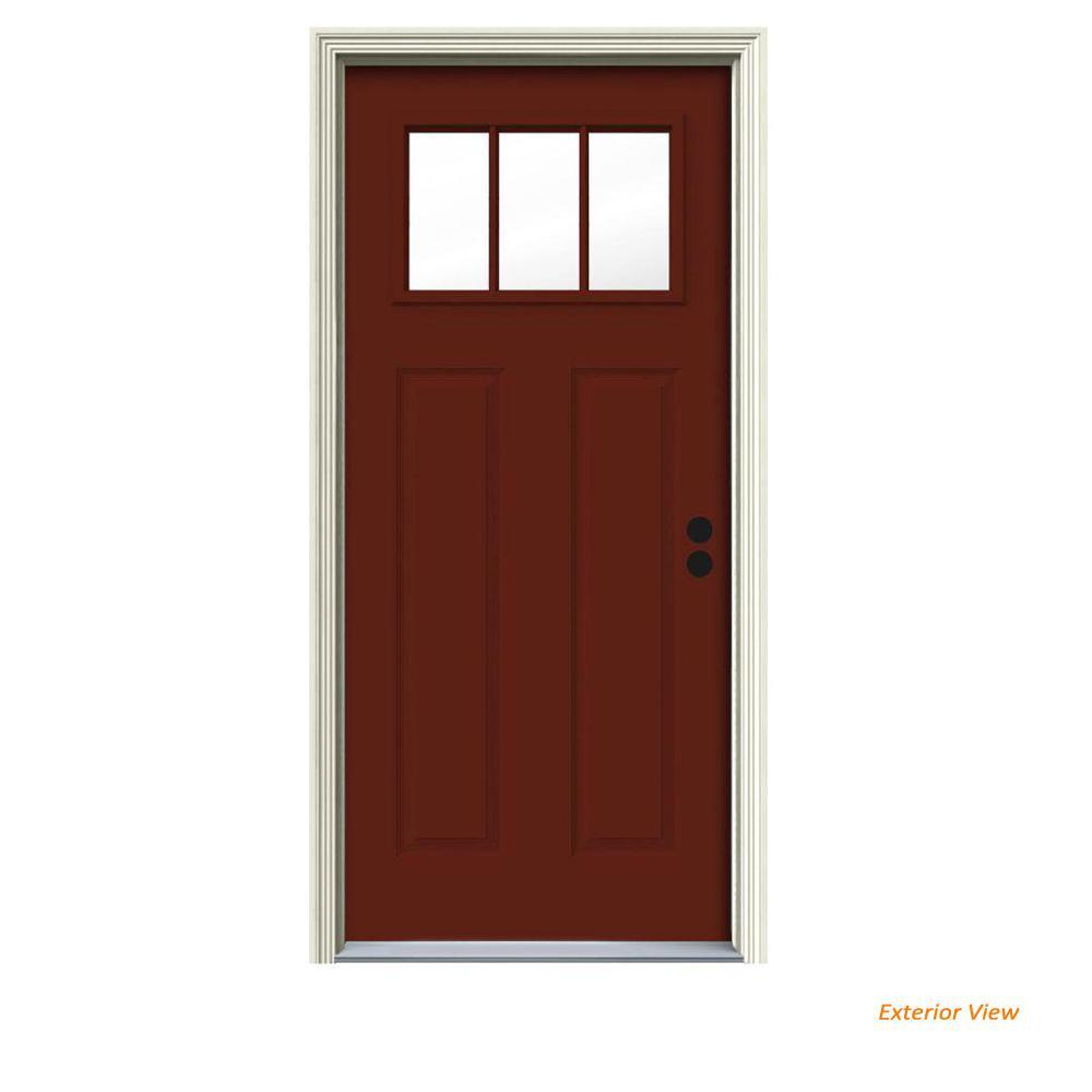 34 in. x 80 in. 3 Lite Craftsman Mesa Red Painted Steel Prehung Left-Hand Inswing Front Door w/Brickmould