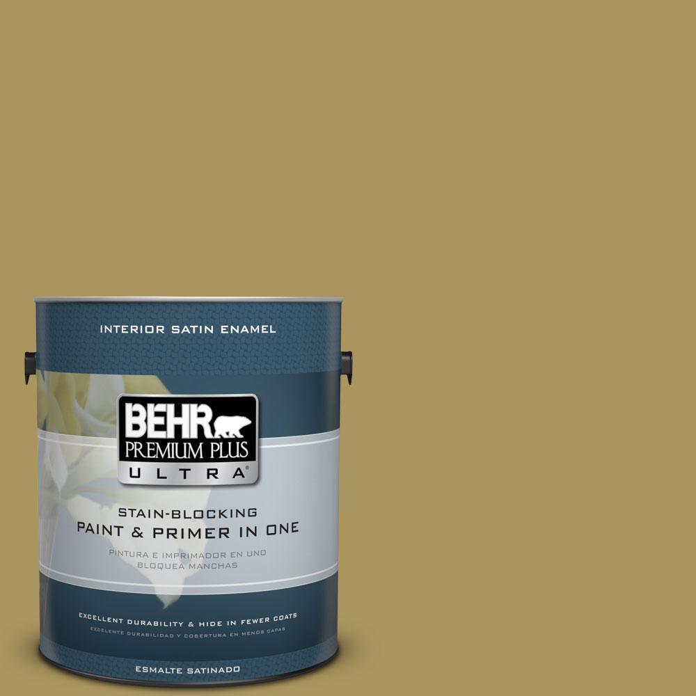 BEHR Premium Plus Ultra 1-gal. #370F-6 Mossy Rock Satin Enamel Interior Paint