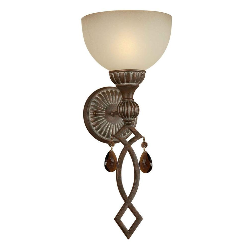 Talista 1-Light Black Cherry Sconce with Shaded Umber Glass