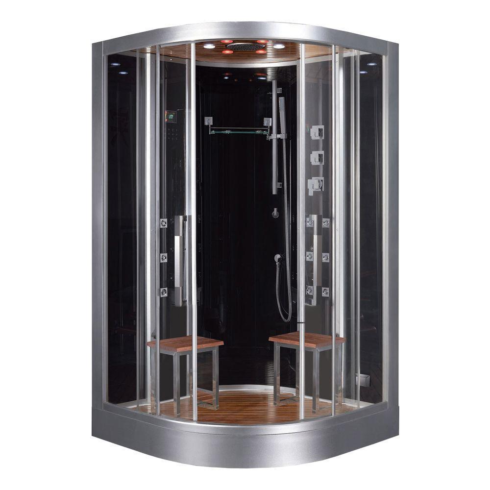 Ariel 47.2 inch x 47.2 inch x 89 inch Steam Shower Enclosure Kit in Black by Ariel