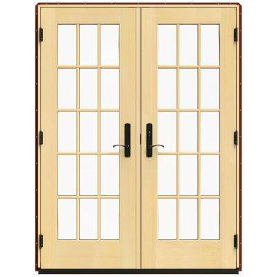 59.25 in. x 79.5 in. W-4500 Mesa Red Left Hand Inswing French Wood Patio Door