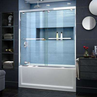 Encore 56 to 60 in. x 58 in. Semi-Frameless Sliding Bypass Tub Door in Chrome