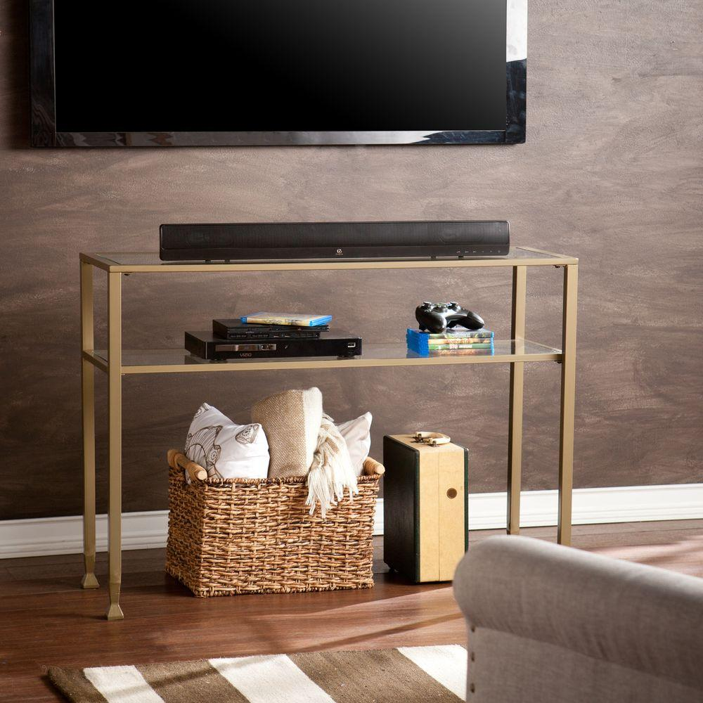 Zuo existential gold console table 100701 the home depot matte gold glass top console table geotapseo Gallery