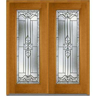 Cadence Decorative Glass Full Lite Finished Fiberglass Oak Exterior