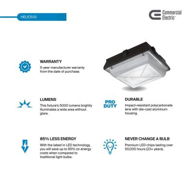 Large 50-Watt Integrated LED Canopy and Area Light, 5200 Lumens, Outdoor Security Lighting (2-Pack)
