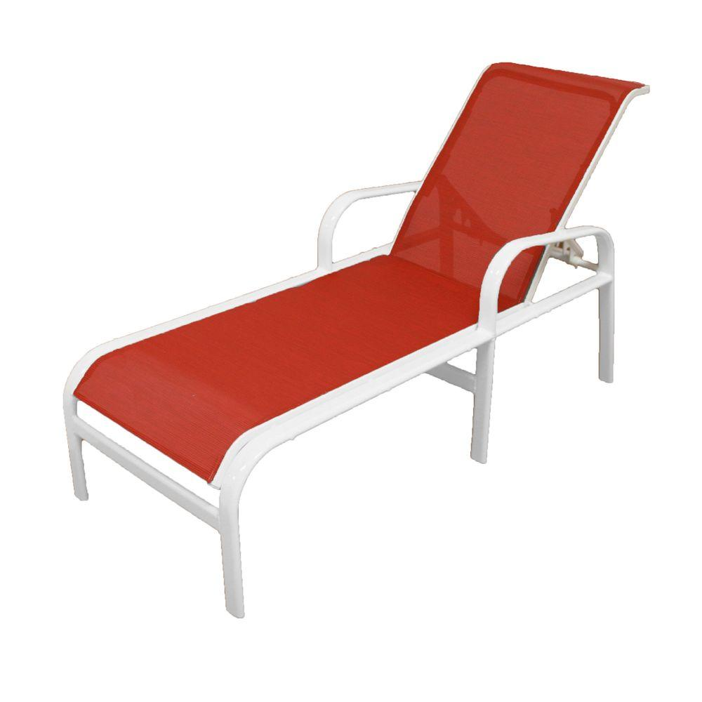 Marco Island White Commercial Grade Aluminum Patio Chaise Lounge with Metallica