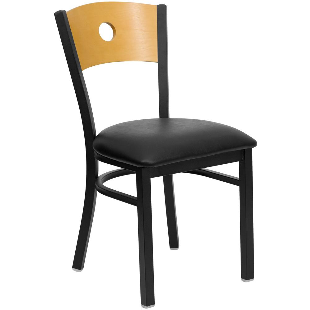 Hercules Series Black Circle Back Metal Restaurant Chair   Natural Wood
