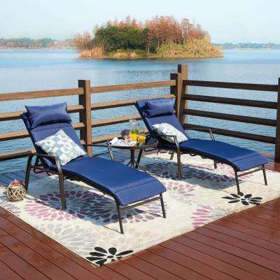 3-Piece Metal Outdoor Chaise Lounge with Blue Cushions