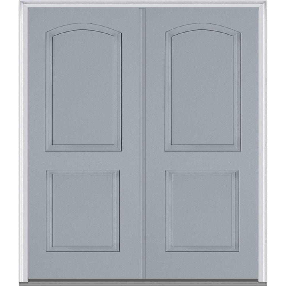 Mmi door 72 in x 80 in left hand inswing 2 panel archtop for Prehung exterior doors with storm door