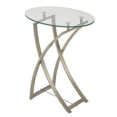 Catherine Clear Tempered Glass Oval End Table in Polished Chrome