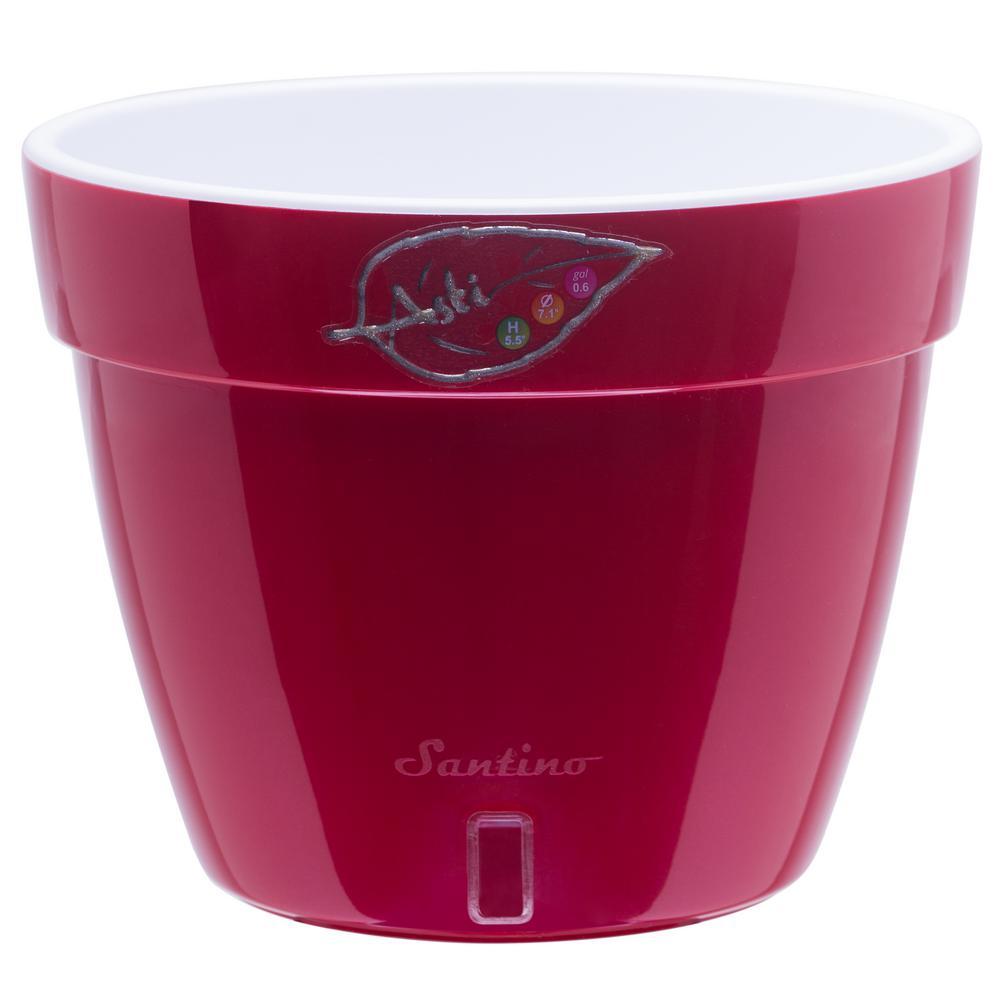 Asti 11.8 in. Red-Pearl/White Plastic Self Watering Planter