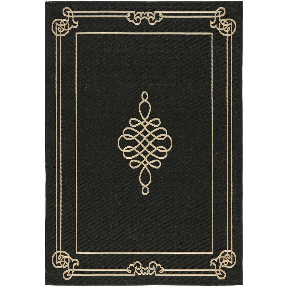 Black Graphic Woven Emerson Indoor Outdoor Area Rug: Safavieh Courtyard Aqua/Cream 8 Ft. X 11 Ft. Indoor