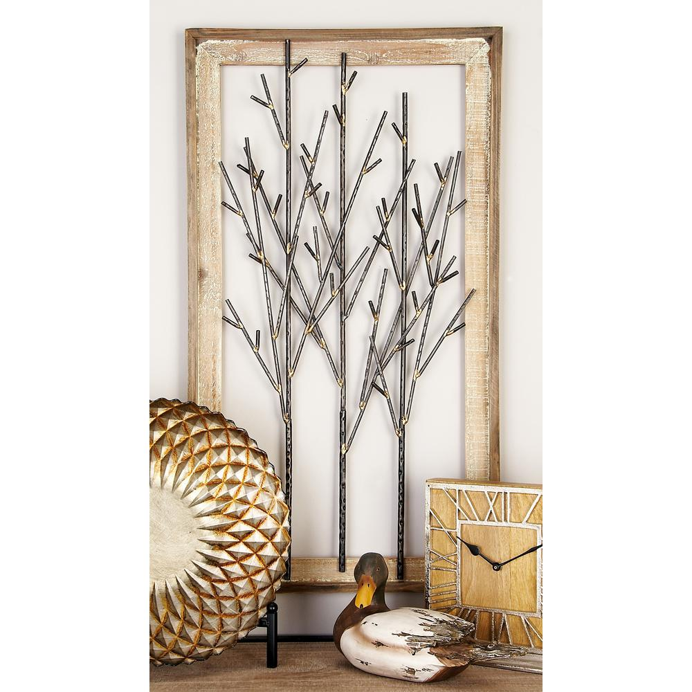 Iron and Wood Black Branches Framed Wall Decor