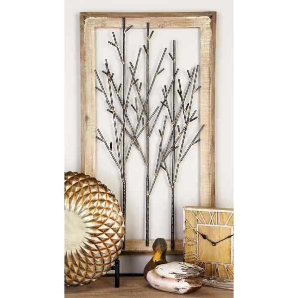 Iron and Wood Black Branches Framed Wall Decor 95294