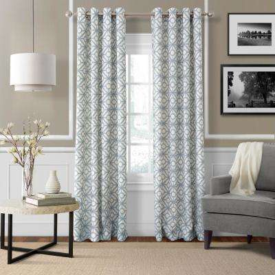 Crackle 52 in. W x 95 in. L Grommet Top Single Curtain Panel in Blue Mist
