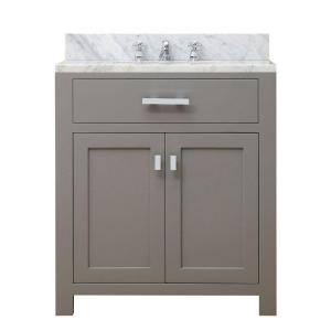 Water Creation 30 inch W x 21 inch D x 34 inch H Vanity in Cashmere Grey with Marble... by Water Creation