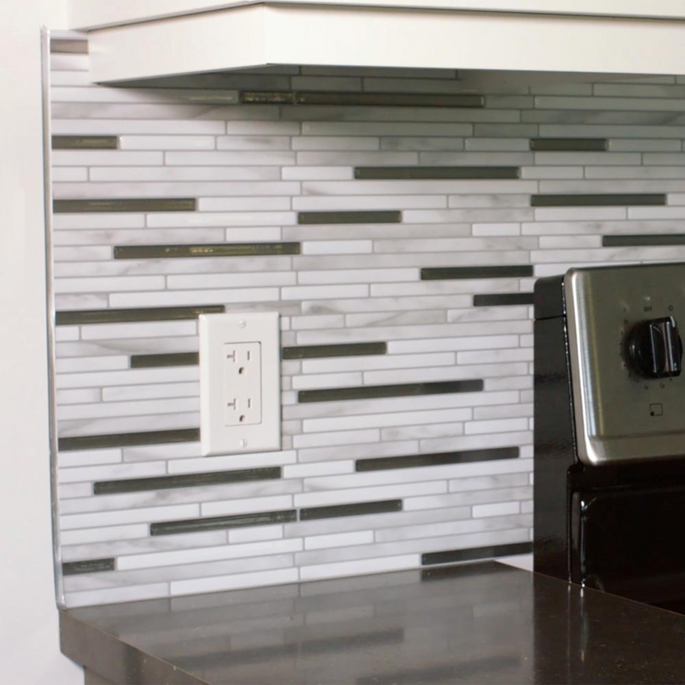 Smart Tiles Edge Ambra 0 27 In W X 18 H Bronze Self