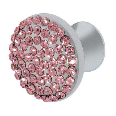 Vivacite 1-1/4 in. Chrome with Pink Crystal Cabinet Knob