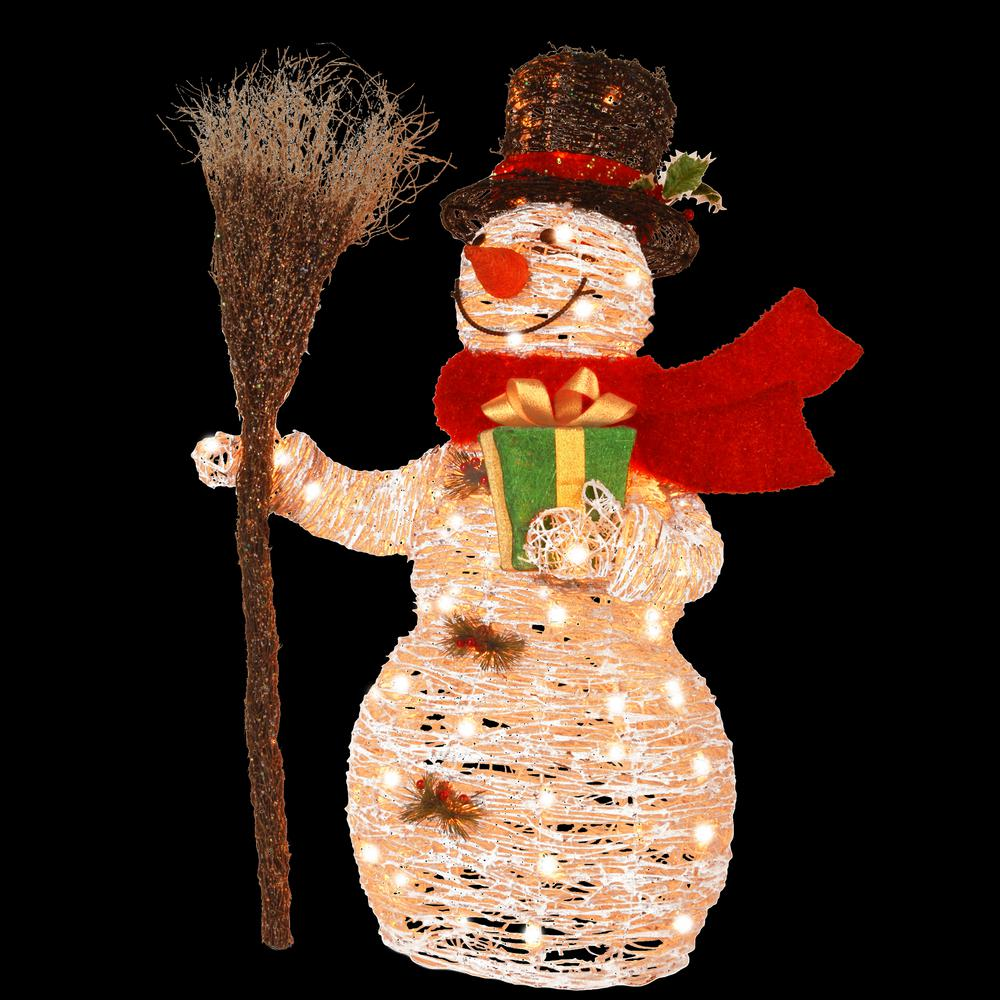 National tree company pre lit 35 in white rattan snowman for Lit national