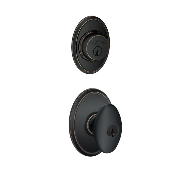 Wakefield Aged Bronze Single Cylinder Deadbolt with Siena Entry Door Knob Combo Pack