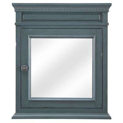 Cailla 24 in. W x 28 in. H Mirrored Wall Cabinet in Distressed Blue Fog