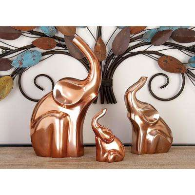 Abstract Aluminum Elephant Sculptures (Set of 3)