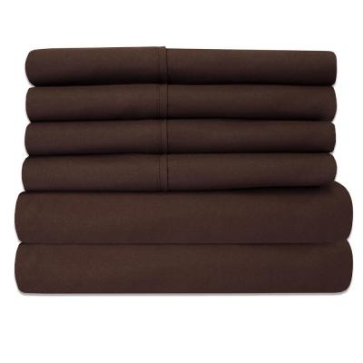 6-Piece Chocolate Super-Soft 1600 Series Double-Brushed King Microfiber Bed Sheets Set